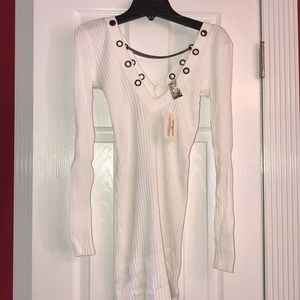 NWT Guess White Long Sleeve Tunic Top Sz Small